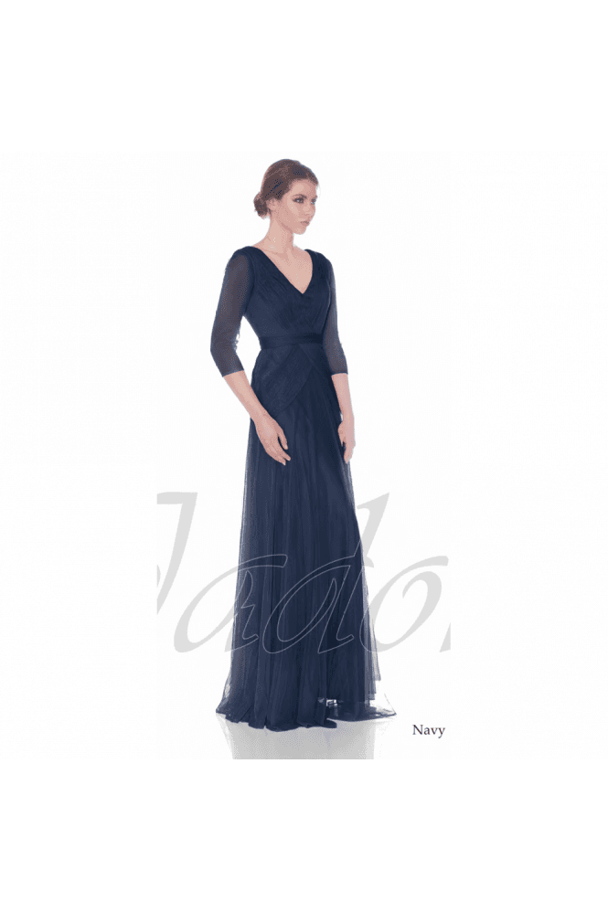 Jadore Navy J7012 3/4 Sleeve V Neck Chiffon Dress