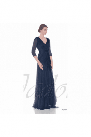 Navy J7012 3/4 Sleeve V Neck Chiffon Dress