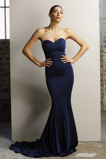 Navy JX1047 fitted strapless gown