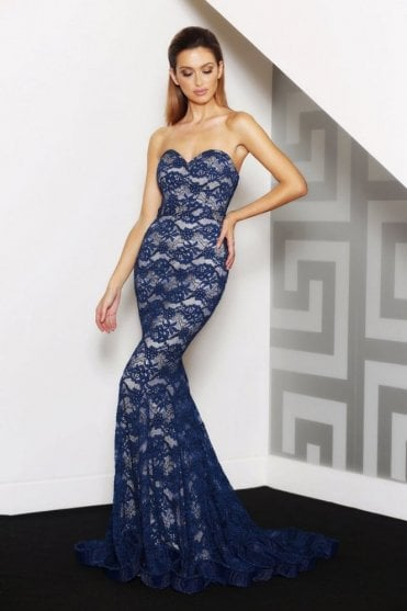 Navy/Nude J8087 Strapless Lace Dress