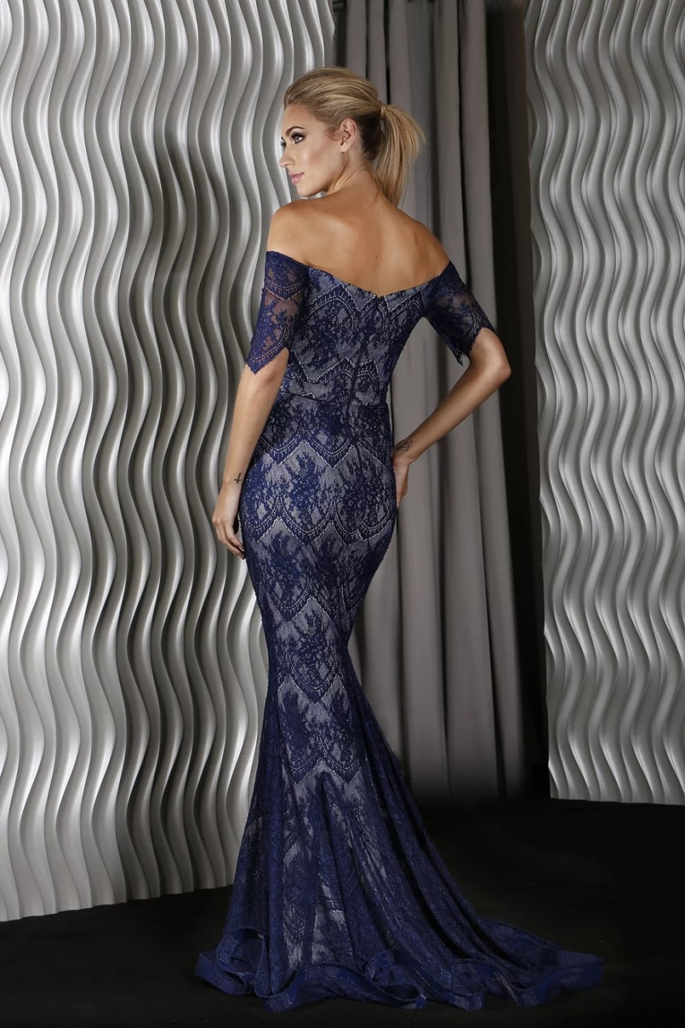 Jadore J9058 Navy with silver Long Lace dress. UK stock at cheapest ...