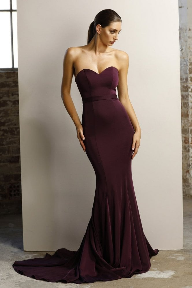Jadore Plum JX1047 fitted strapless gown