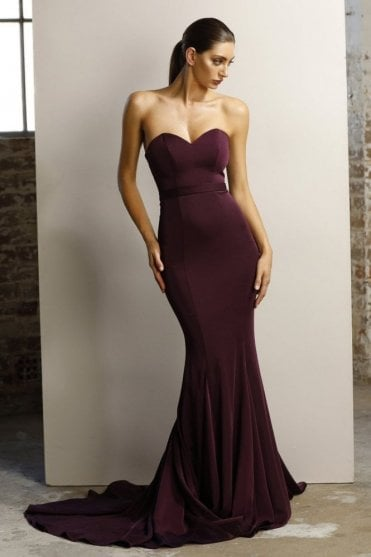 Plum JX1047 fitted strapless gown