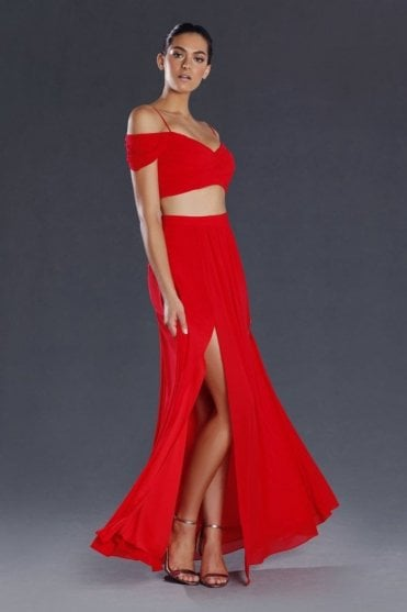 Red 2 piece leg split crepe dress JX081