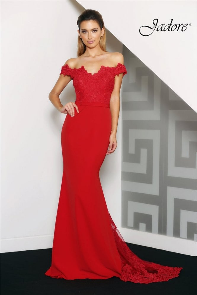 Jadore Red J8033 Fitted Off the Shoulder Long Lace Dress