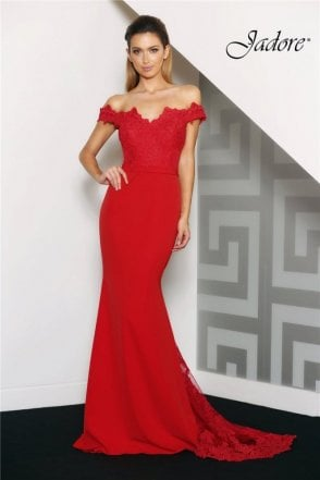 Red J8033 Fitted Off the Shoulder Long Lace Dress