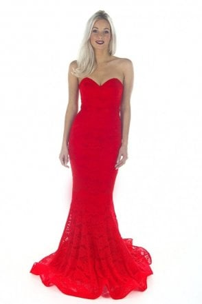 Red J8087 Strapless Lace Dress