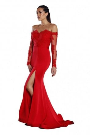 Red JX052 long sleeve lace bodice long sleeve dress