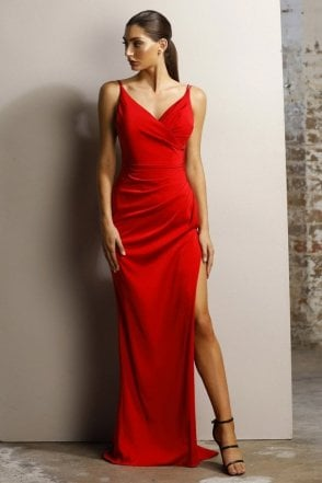 Red JX1027 V neck crossover bust high split dress