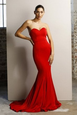 Red JX1047 fitted strapless gown