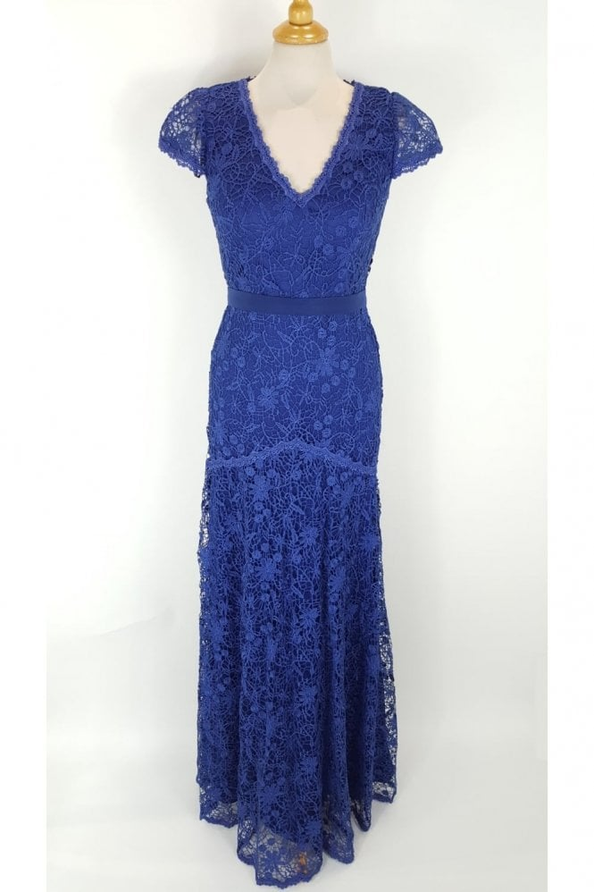 Jadore Royal Blue J7059 Lace Overlay Cap Sleeve Dress