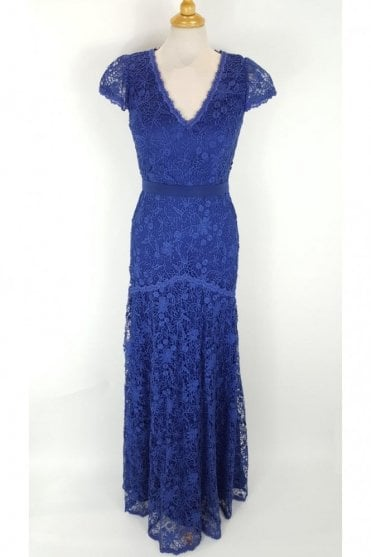 Royal Blue J7059 Lace Overlay Cap Sleeve Dress