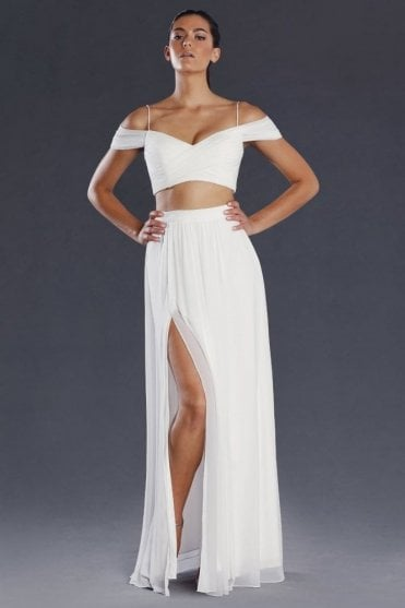 White 2 piece leg split crepe dress JX081
