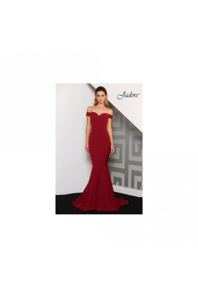 Jadore Wine J8017 Sweet Heart off the shoulder Mermaid Dress