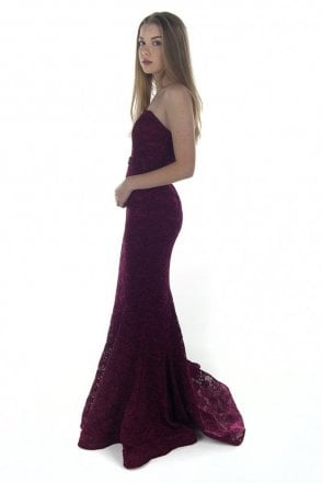 Wine J8087 Strapless Lace Dress