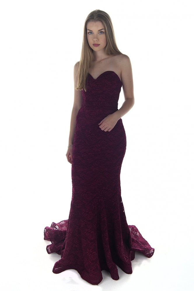 Jadore Wine J8087 Strapless Lace Dress
