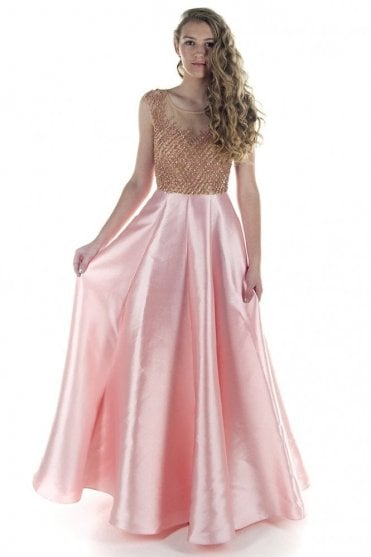 10788 Light Pink Jewelled Bodice Gown