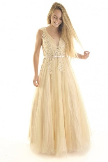 Beige 3265 emroidered net overlay dress