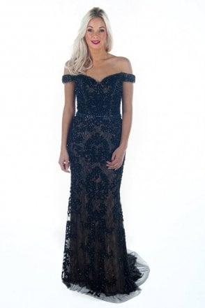 Black DSL038 bead detailed lace ball gown