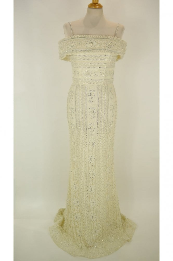 Jessica Stuart Cream DSJ551 beaded and jewelled lace Bardot dress