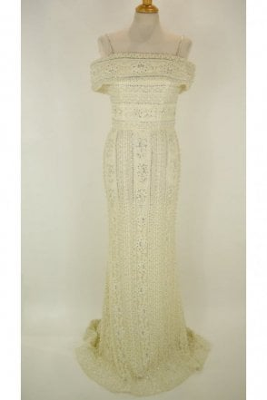 Cream DSJ551 beaded and jewelled lace Bardot dress