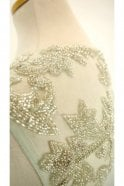 Jessica Stuart Dusty green 812 embellished sheer fitted bodice dress