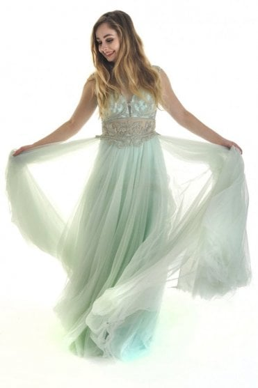 Dusty green 812 embellished sheer fitted bodice dress