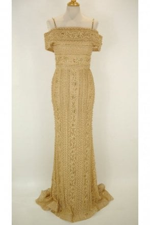 Gold DSJ551 beaded and jewelled lace Bardot dress
