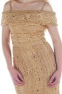 Jessica Stuart Gold DSJ551 beaded and jewelled lace Bardot dress