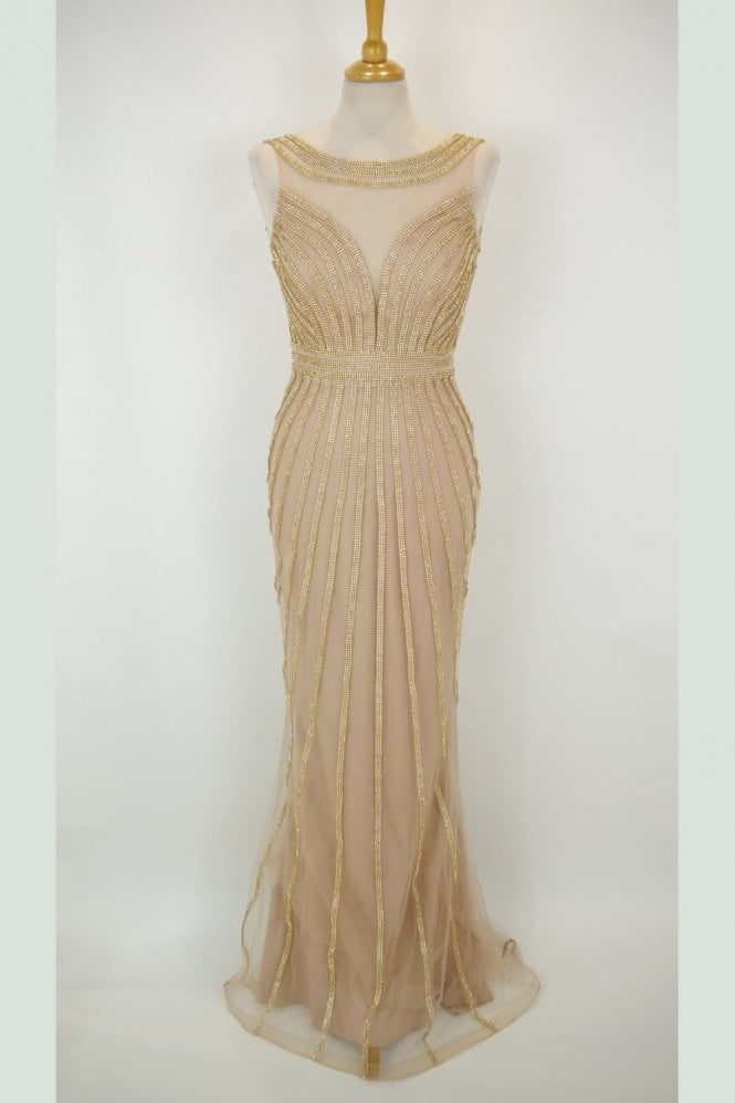 Jessica Stuart Gold patterned crystal detailed long dress K60