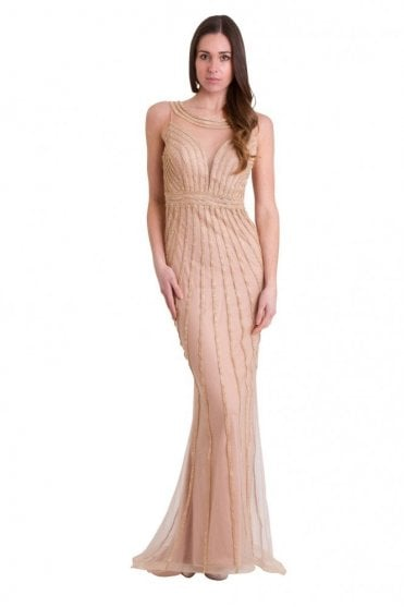 Gold patterned crystal detailed long dress K60