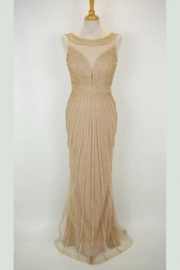 Gold patterned crystal detailed long dress