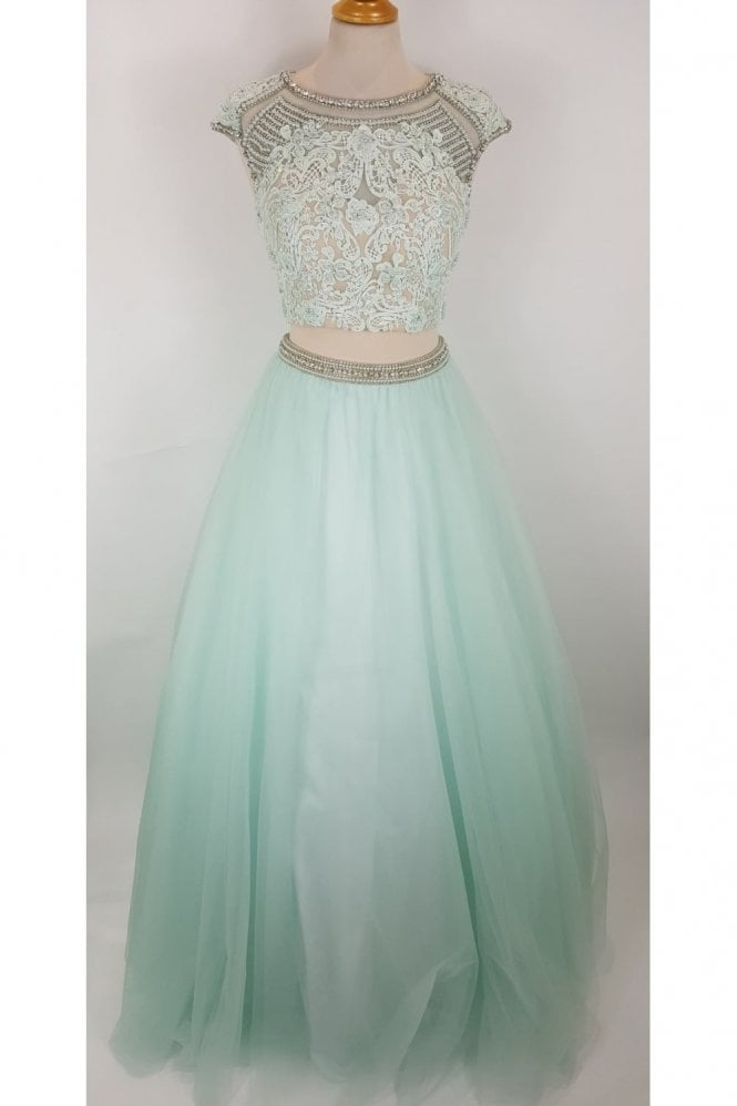 Jessica Stuart Mint 3263 Beaded Bodice Two Piece Gown