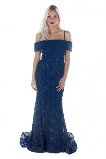 Navy DSJ551 beaded and jewelled lace Bardot dress
