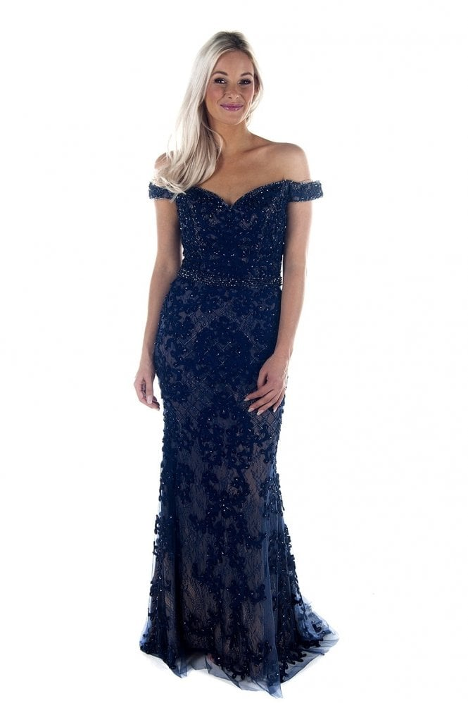 Jessica Stuart Navy DSL038 bead detailed lace ball gown