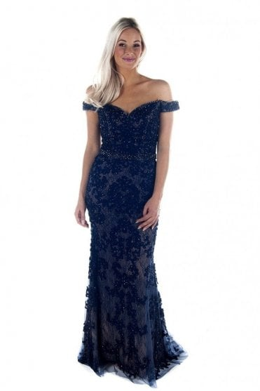 Navy DSL038 bead detailed lace ball gown
