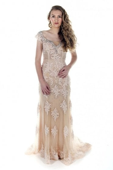 Pink champagne dsjn83 embroidery and sparkle gown
