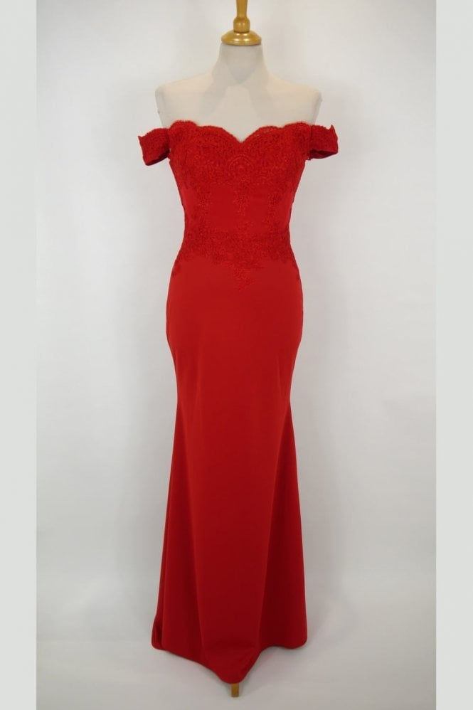 Jessica Stuart Red 32413 off the shoulder lace fitted long gown