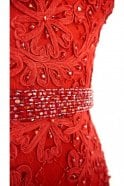 Jessica Stuart Red DSL038 bead detailed lace ball gown