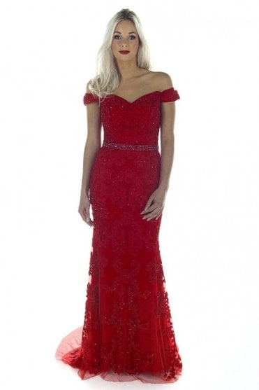 Red DSL038 bead detailed lace ball gown