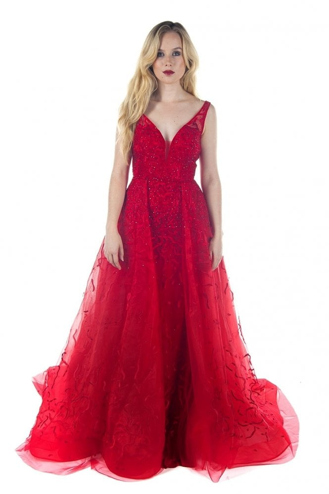 Jessica Stuart Red embroidered and jewelled ballgown 3244