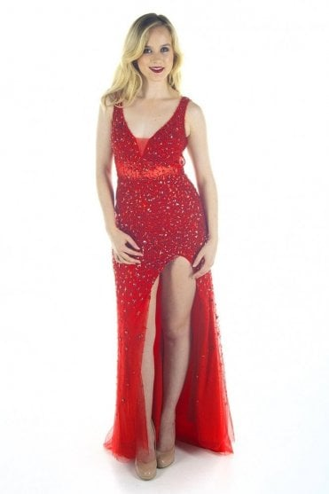 Red jewelled deep v cross strap back gown 3259