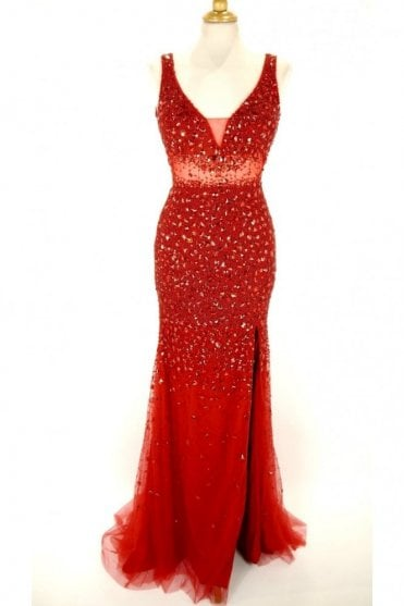 Red jewelled deep v gown 3259