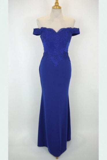 Royal blue 32413 off the shoulder lace fitted long gown