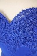 Jessica Stuart Royal blue 32413 off the shoulder lace fitted long gown