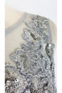 Jessica Stuart Silver 8129 embroidered sequin bodice dress