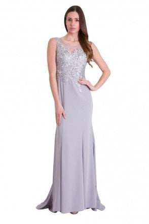 Silver 8129 embroidered sequin bodice dress
