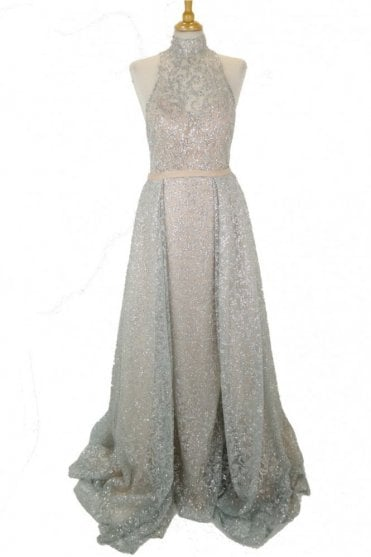 Silver and nude extra skirt sparkle dress