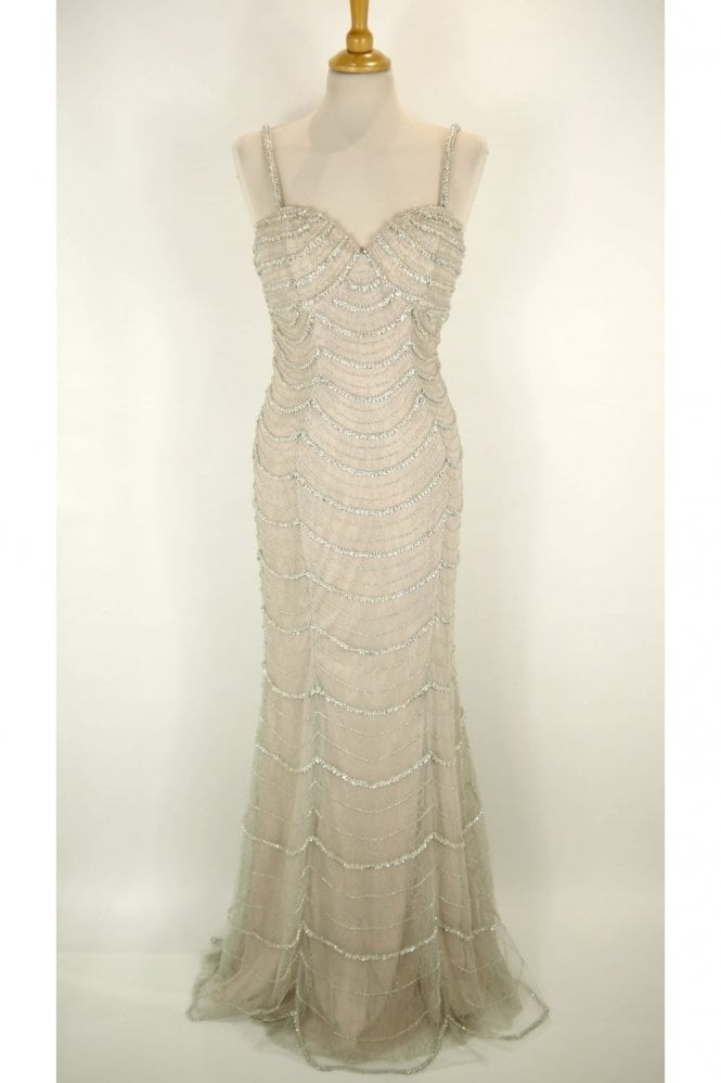 Jessica Stuart Silver Harper beaded and sequinned long lace dress