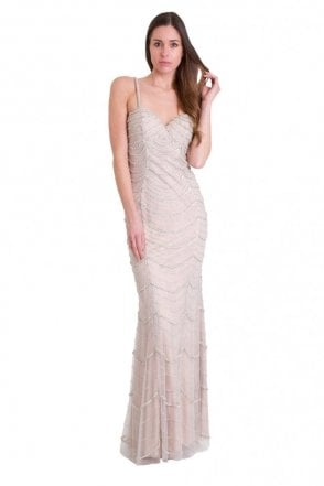 Silver Harper beaded and sequinned long lace dress